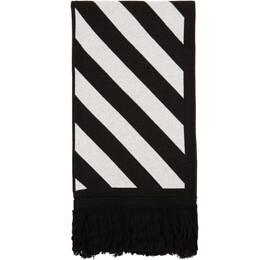 Off-White Black and White Knit Diag Scarf OMMA001E20KNI0011001