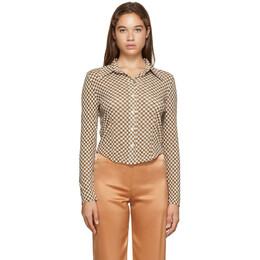 Nanushka Brown Checked Mesh-Jersey Alice Shirt NW20PFSH01571