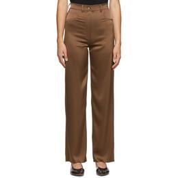 Nanushka Brown Satin Drew Trousers NW20PFPA02978