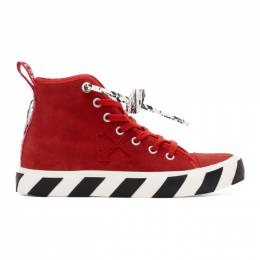 Off-White Red Suede Vulcanized Mid Top Sneakers OWIA195E20LEA0012500
