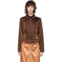 Nanushka Brown Satin Alice Shirt NW20PFSH01378
