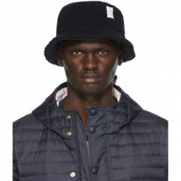 Thom Browne Navy Shearling Bucket Hat MHC327X-04754