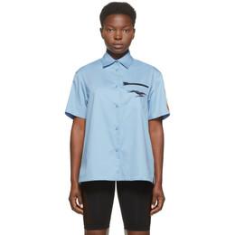 Heron Preston Blue Poplin Baseball Shirt HWGA010E20FAB0024410