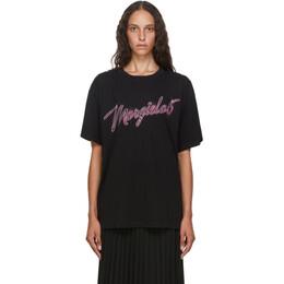 Mm6 Maison Margiela Black and Pink Logo Oversize T-Shirt S52GC0169 S23588