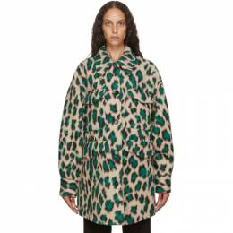 Mm6 Maison Margiela Beige and Green Leopard Wool Oversize Coat S52AM0153 S53100
