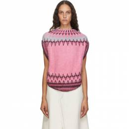 Mm6 Maison Margiela Pink Fair Isle Circle Knit Sweater S62GP0032 S17573