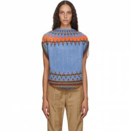 Mm6 Maison Margiela Blue Isle Circle Knit Sweater S62GP0032 S17573