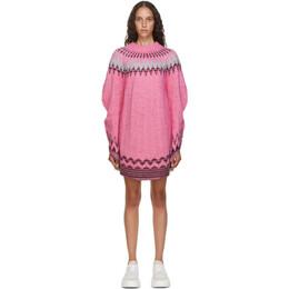 Mm6 Maison Margiela Pink and Grey Fair Isle Dress S62GP0033 S17573