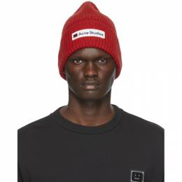 Acne Studios Red Wool Patch Beanie C40102-