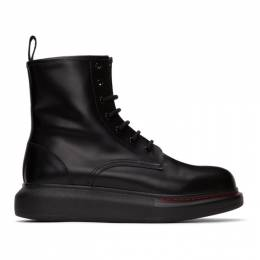 Alexander McQueen Black Contrast Sole Hybrid Combat Boots 586394WHX51
