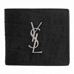 Saint Laurent Black Croc Monogramme East/West Wallet 453276DM67E