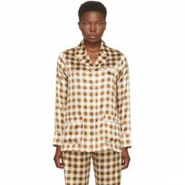 Ganni Brown Silk Check Shirt F4929