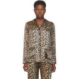 Ganni Black and Brown Silk Leopard Shirt F4929
