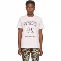 Ganni Pink Smiley T-Shirt T2605