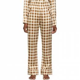 Ganni Brown Silk Check Lounge Pants F4930
