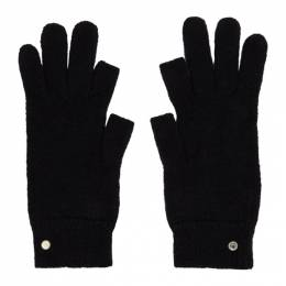 Rick Owens Black Mohair Touchscreen Gloves RU20F3492 KAI
