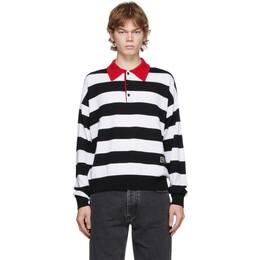 Ami Alexandre Mattiussi Black and White Striped Rugby Polo A20HK401.002