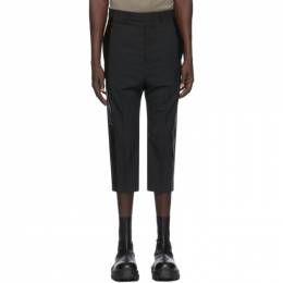 Rick Owens Black Wool Cropped Tux Astaires Trousers RU20F3359 WPQLX