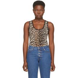 Ganni Black and Brown Sleeveless Bodysuit A2618