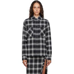 Off-White Black and White Flannel Stencil Shirt OMGA133E20FAB0011010