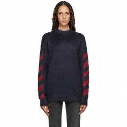 Off-White Navy and Red Mohair Diag Sweater OMHA036E20KNI0010725