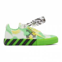 Off-White White and Green Vulcanized Low Sneakers OWIA178E20FAB0025555