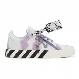Off-White White and Purple Vulcanized Low Sneakers OWIA178E20FAB0020136
