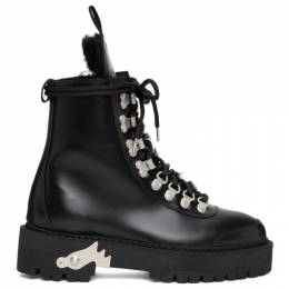 Off-White Black Shearling and Leather Hiking Boots OWIA045E20LEA0011001
