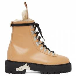 Off-White Beige Shearling and Leather Hiking Boots OWIA045E20LEA0011810