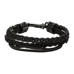 Emanuele Bicocchi Black Double Braided Bracelet FKB04R