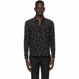 Saint Laurent Black and Off-White Silk Graphic Shirt 520149Y2B14