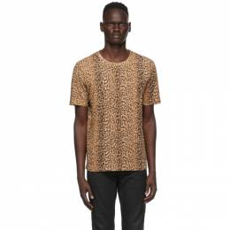 Saint Laurent Tan Leopard T-Shirt 633119YBWK2