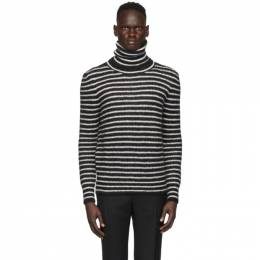 Saint Laurent Black and Off-White Loose Fit Turtleneck 633156YARX2