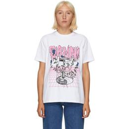 Ganni White UFO Flower T-Shirt T2754