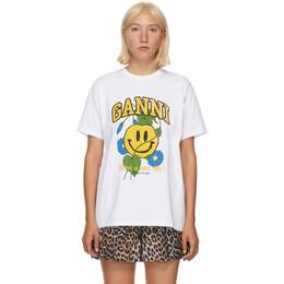 Ganni White Smiley Flower T-Shirt T2749