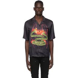 Stolen Girlfriends Club SSENSE Exclusive Black Lightning Hawaiian Short Sleeve Shirt C3-19209
