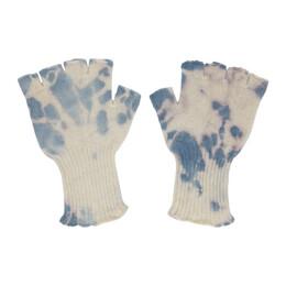 The Elder Statesman Off-White and Blue Fingerless Gloves 180047