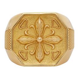 Emanuele Bicocchi Gold Lily Chevaliet Signet Ring LILYA20G