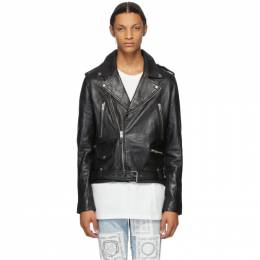 Ksubi Black Leather Loathing Biker Jacket 1000065333