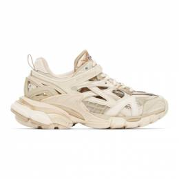Balenciaga Tan and Off-White Track.2 Sneakers 568615-W2GN3