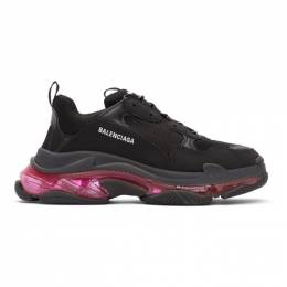 Balenciaga Black and Pink Triple S Sneakers 544351-W2FR1
