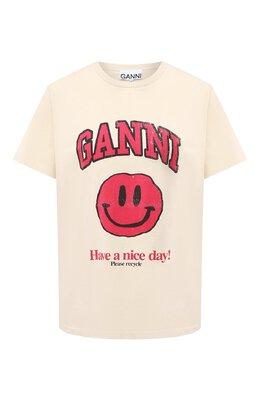 Хлопковая футболка Ganni T2654