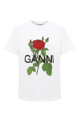Хлопковая футболка Ganni T2751
