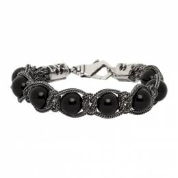 Emanuele Bicocchi Silver and Black Beaded Bracelet SHBR