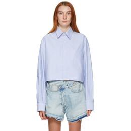 R13 Blue Oversized Cropped Shirt R13W7765-O45