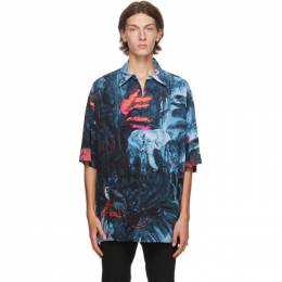 Valentino Blue Mural Jungle Shirt UV3AAB606EQ