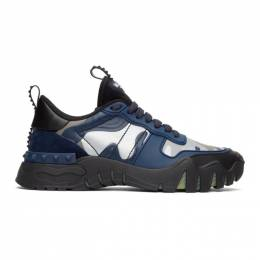 Valentino Black and Blue Valentino Garavani Camo Rockrunner Sneakers UY2S0C88MHB