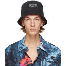 Valentino Black Valentino Garavani VLTN Bucket Hat UY2HGA11SVA