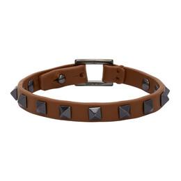 Valentino Brown Valentino Garvani Leather Rockstud Bracelet UY2J0N03VH3