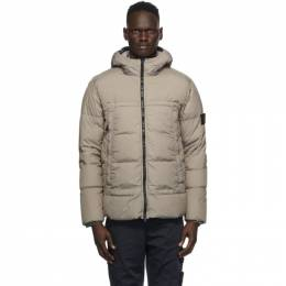 Stone Island Taupe Down Hooded Jacket 731540723